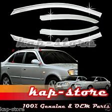Chrome Door Window Vent Visor Deflector for 00~05 Hyundai Accent/Verna 4DR/5DR