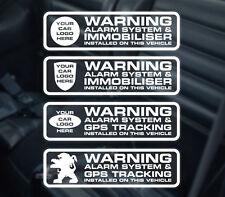 4 x pegatina de alarma de Coche-Calcomanía de alarma de Coche Inmovilizador para y GPS equipada. Pegatinas.