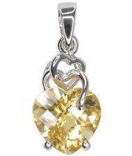 Citrine Gemstone Checkerboard Heart Sterling Silver Pendant + Chain