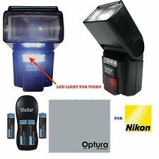 DEDICATED PRO HIGH POWER FLASH +VIDEO LIGHT + BATTERIES FOR NIKON D3500 D5600