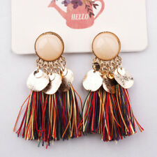 Women Fashion Vintage Tassel Earrings Bohemian Dangle Alloy Resin Ear Pendant