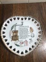 "Vintage Ceramic A KITCHEN PRAYER Wall Plaque 7"" Hearts"