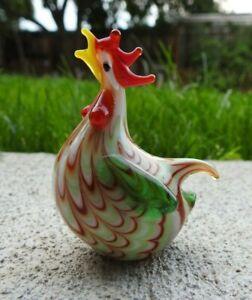 """Miniature Hand Blown Art Glass  Rooster Chicken Figurine 2 3/4"""" High"""