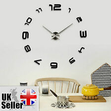 Modern Large Wall Clock Black 3D DIY Home Decoration Living Room Bedroom Office