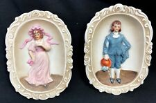 Ceramic Wall Décor 1950's COLONIAL  Blue Boy & Pinkie RARE Figurines Norleans