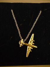 "Douglas DC-4 c106 Aeroplane On a 16"" Silver Plated Curb Chain Necklace"