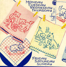 Kittens Scottie Dogs Embroidery Transfer 705 for Days of the Week dish Towels
