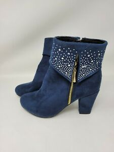 Navy Blue Faux Suede Studded Ankle Boots Size 9