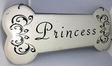 Decorative Metal Sign Dog Bone Princess Pet Pretty White