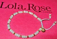 LOLA ROSE *EASTCOTE* SKY BLUE QUARTZITE GOLD PALE GREEN ADJUSTABLE BRACELET  QVC
