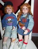 Kelly & Donna Rubert Hannah & Henry:Time Out Porcelain Collectible Dolls NEW!!!