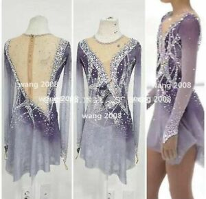 Figure Skating Dress Women's Girls' Ice Skating Dress Spandex purple dyeing