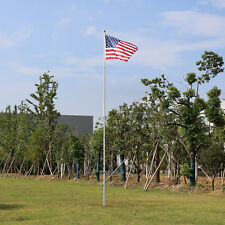 20 Ft Telescopic Outdoor Flag Pole in-Ground Aluminum Kit w/ 2pc 3'x5' Us Flags
