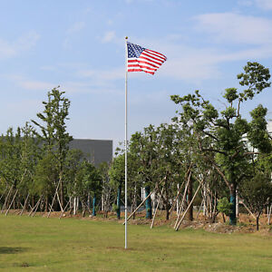 Telescopic 20 FT Outdoor Flag Pole in-Ground Aluminum Kit w/ 2pc 3'x5' US Flags