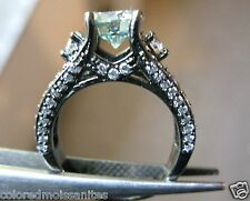 Ring,Certificate Black Rhodium Silver 2.05ctw Green Moissanite w/Accents Wedding