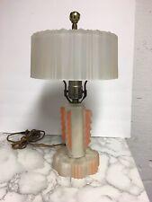 "Vintage Art Deco Frosted Glass & Peach Accent 13"" Boudoir Lamp"