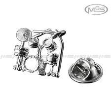 Brooch Emblem Badge Band Drum Music Silver Suit Shirt Lapel Pin Gift