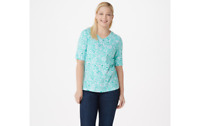 Denim & Co. Printed Jersey V-Neck Elbow-Sleeve Top Turquoise L A352781 QVC