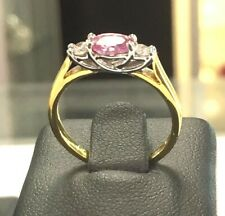 9ct Gold Pink Sapphire & Diamond Engagement Dress Ring SALE Was £470