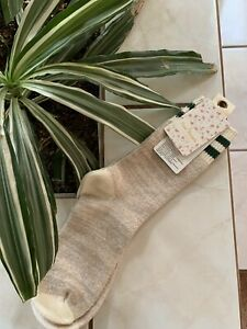 FREE PEOPLE SOCKS NUDE WITH GREEN FRAYED STRIPES ACC22070 NWT