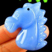 Head Pendant Bead 40x35x10mm F34094 Carved Blue Jade Horse