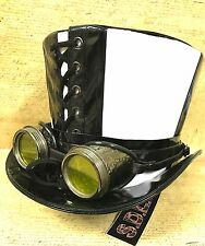 SDL en PVC Noir & Blanc Cosplay Chapeau Haut de Forme Argent Oxydé lunette en 57,58,59,60cm