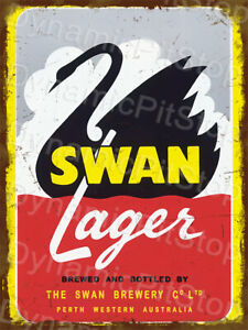 30x40cm Swan Lager Beer Rustic Tin Sign or Decal, Man Cave, Bar, Garage, Retro