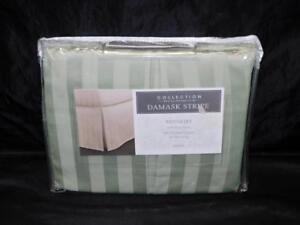 "Charter Club Palmetto Green Twin Bedskirt Damask Stripe NEW 16"" Drop Cotton NIP"