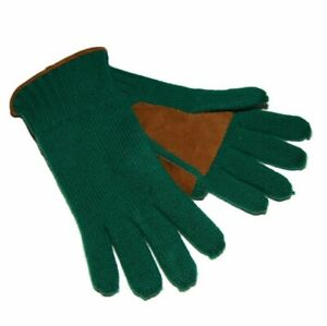 $195 Polo Ralph Lauren Mens Womens Cashmere Suede Leather Ribbed Gloves Green