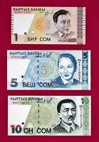 KYRGYZSTAN UNC NOTES: 1 SOM 1999 + 5 SOM & 10 SOM 1997 (P-13a, (P-14a) & (P-15a)