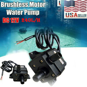 DC 12V 3m 240L/H Ultra Quiet Brushless Motor Submersible Pool Water Pump US