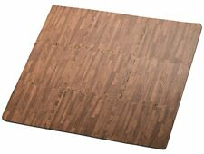 HemingWeigh Wood Grain Print Foam Anti Fatigue Puzzle Mats - Dark Brown