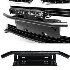 Black Bull Bar Front Bumper License Plate Bracket LED Light Holder for Offroad