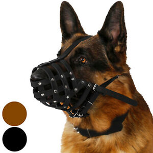 Leather Dog Muzzle German Shepherd Basket Black Brown