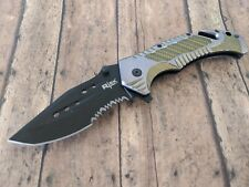 Silver Gold Tactical Drop Point Blade Assisted Pocket Knife Glass Breaker  2C