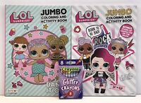New 3 pc LOL Surprise Gift Set Jumbo Coloring & Activity Books & Glitter Crayons