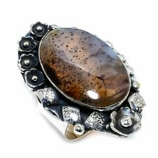 Botswana Dendritic Agate Gemstone 925 Sterling Silver Ring Size 8.5
