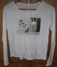 Abercrombie Kids Girls T Shirt Top Graphic Dog Puppy sit white size Large