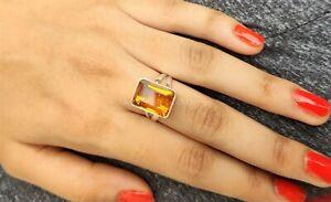 New Citrine Gemstone 925 Sterling Silver Ring Statement Ring Birthstone Ring pp6