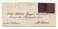 PARMA per MILANO ANTICHI STATI 1855 bustina con testo 25 + 25