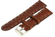 22MM Brown Leather Strap Stitched - High Quality - 120001