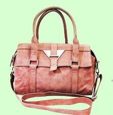 BCBG MAXAZRIA Light Pink Snake Leather Satchel Shoulder Bag