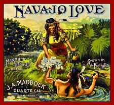 Duarte J.A. Maddock Navajo Love Orange Citrus Fruit Crate Box Label Art Print