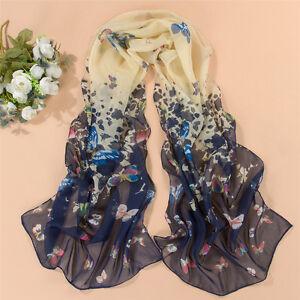 Navy Butterfly Chiffon Print Women Face Cover Wrap Silk Chiffon Scarf