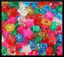 "50 Star Glitter Sparkle Pony Beads 1/2"" 13mm Kids Girls Jewelry USA Made ABCraft"