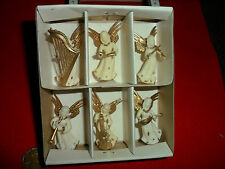 Vintage Plastic White and Gold Musician Angels