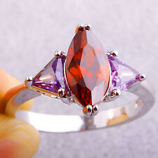 Women Marquise & Triangle Cut Garnet Amethyst Gemstones Silver Ring Size 8