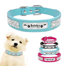 Soft Suede Leather Dog Collar Rhinestone Puppy Cat Collars ID Name Free Engraved