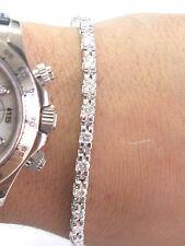 Fino Redondo Talla Diamante Oro Blanco Tenis Brazalete Forma de u 26-Stones