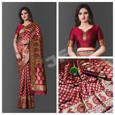 Banarasi Silk Saree Indian Ethnic Maroon Saree Wedding Wear Woven Sari Blouse